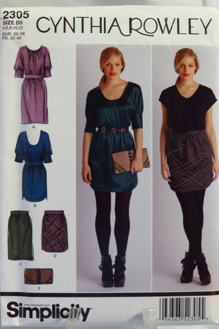 Simplicity 2305 Misses' Dresses and Skirts, Each in Two Lengths and Purse - D5 (4-6-8-10-12) - Smiths Depot Sewing Pattern Superstore  - 1