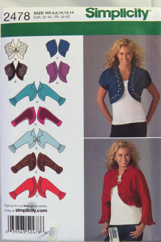 Simplicity 2478 Misses' Bolero Jackets with Neckline and Sleeve Variations - H5 (6-8-10-12-14) - Smiths Depot Sewing Pattern Superstore  - 1