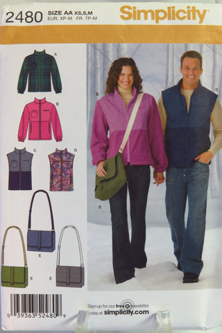 Simplicity 2480 Misses', Men's and Teen's Jacket or Vest and Messenger Bag - AA (XS-S-M) - Smiths Depot Sewing Pattern Superstore  - 2