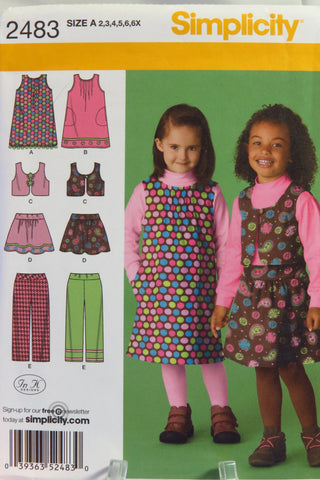 Simplicity 2483 Child's Jumper, Skirt, Pants and Vest - A (2-3-4-5-6-6X) - Smiths Depot Sewing Pattern Superstore