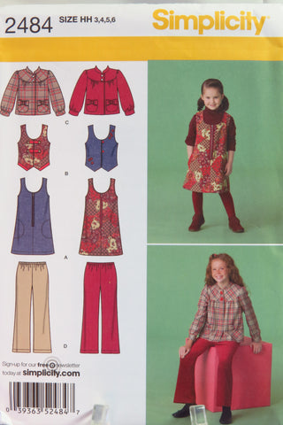 Simplicity 2484 Child's and Girl's Jumper, Vest, Jacket and Cropped Pants - HH (3-4-5-6) - Smiths Depot Sewing Pattern Superstore