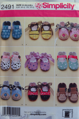 Simplicity 2491 Baby Shoes - A (XS-S-M-L) - Smiths Depot Sewing Pattern Superstore