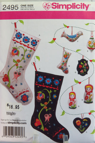 Simplicity 2495 Christmas Decorations -  - Smiths Depot Sewing Pattern Superstore