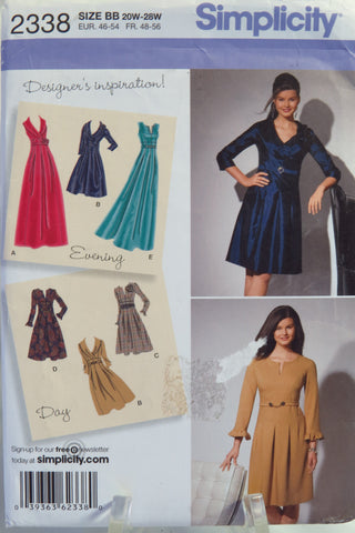 Simplicity 2338 Misses'/Women's Dress in Two Lengths with Sleeve Variations -  - Smiths Depot Sewing Pattern Superstore