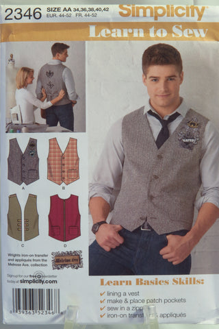 Simplicity 2346 Men's Vest with Trim Variations - AA (34-36-38-40-42) - Smiths Depot Sewing Pattern Superstore
