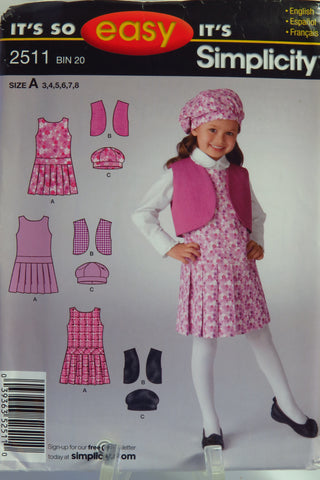 Simplicity 2511 Child's Jumper, Vest and Hat - A (3-4-5-6-7-8) - Smiths Depot Sewing Pattern Superstore