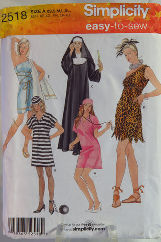 Simplicity 2518 Misses' Costumes - A (XS-S-M-L-XL) - Smiths Depot Sewing Pattern Superstore