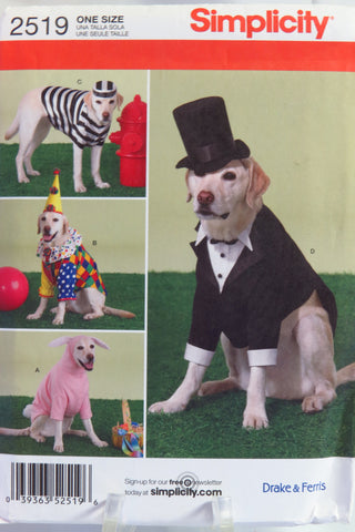 Simplicity 2519 Large Size Dog Costumes -  - Smiths Depot Sewing Pattern Superstore