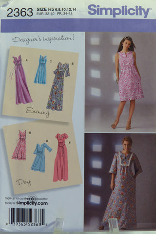 Simplicity 2363 Misses' Dresses - H5 (6-8-10-12-14) - Smiths Depot Sewing Pattern Superstore  - 2