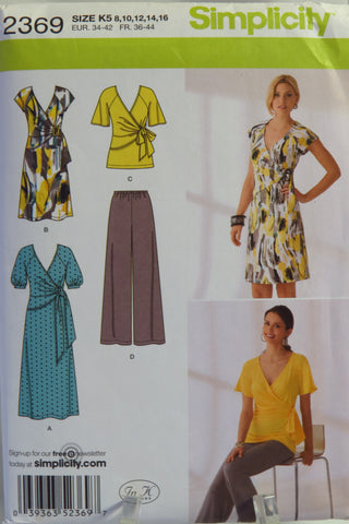 Simplicity 2369 Misses' Knit Dress in Two Lengths or Tunic and Pants -  - Smiths Depot Sewing Pattern Superstore