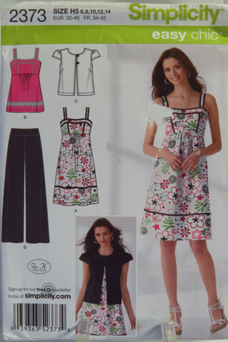 Simplicity 2373 Misses' Pants, Dress or Top and Jacket - H5 (6-8-10-12-14) - Smiths Depot Sewing Pattern Superstore  - 1