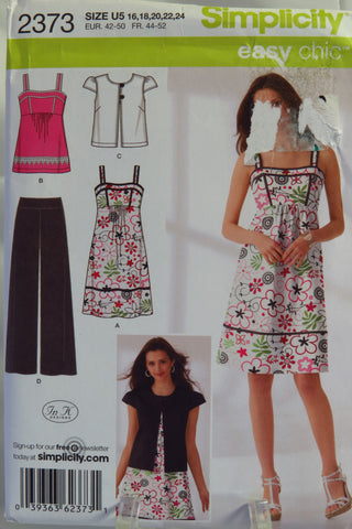 Simplicity 2373 Misses' Pants, Dress or Top and Jacket - U5 (16-18-20-22-24) - Smiths Depot Sewing Pattern Superstore  - 2