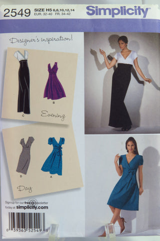 Simplicity 2549 Misses' Dress in Two Lengths with Skirt Variations - H5 (6-8-10-12-14) - Smiths Depot Sewing Pattern Superstore  - 1