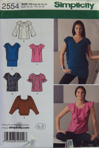 Simplicity 2554 Misses\' Knit and Woven Tops – Smiths Depot Sewing ...