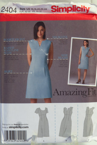 Simplicity 2404 Misses'/Miss Petite Dress with Individual Pattern Pieces for Slim, Average and Curvy Fit and A,B,C,D Cup Sizes -  - Smiths Depot Sewing Pattern Superstore