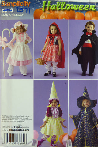 Simplicity 0810 Toddler's Costumes - A (1/2-1-2-3-4) - Smiths Depot Sewing Pattern Superstore
