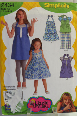 Simplicity 2434 Child's and Girls' Dress in Two Lengths or Tunic, Cropped Pants and Knit Top - K5 (7-8-10-12-14) - Smiths Depot Sewing Pattern Superstore