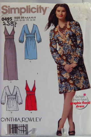 Simplicity 0495 Misses' Dress in Three Lengths or Tunic - D5 (4-6-8-10-12) - Smiths Depot Sewing Pattern Superstore