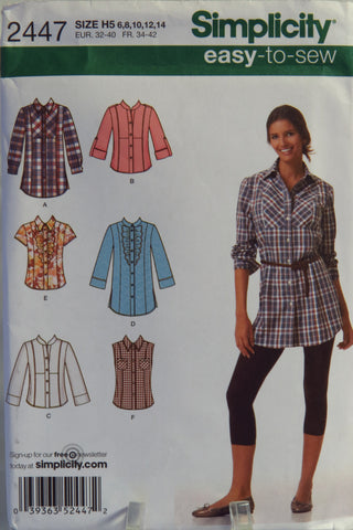 Simplicity 2447 Misses' Shirt in Two Lengths with Front, Collar and Sleeve Variations - H5 (6-8-10-12-14) - Smiths Depot Sewing Pattern Superstore  - 1