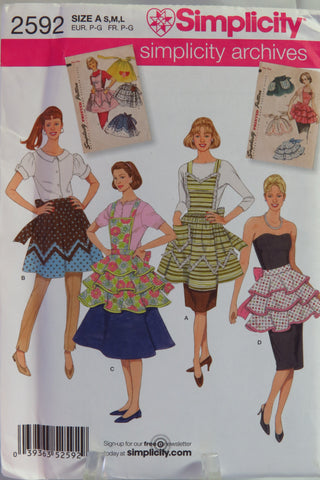 Simplicity 2592 Misses Vintage Aprons -  - Smiths Depot Sewing Pattern Superstore