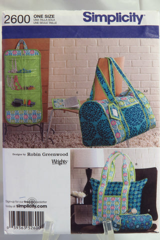 Simplicity 2600 Quilted Travel Accessories -  - Smiths Depot Sewing Pattern Superstore