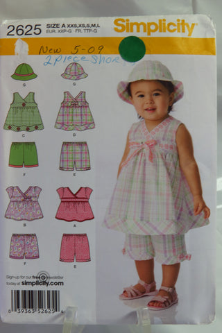 Simplicity 2625 Babies' Top in Two Lengths, Shorts in Two Lengths and Hat in Three Sizes - A (XXS-XS-S-M-L) - Smiths Depot Sewing Pattern Superstore