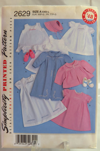 Simplicity 2629 Babies' Layette and Bonnet - A (XXS-L) - Smiths Depot Sewing Pattern Superstore