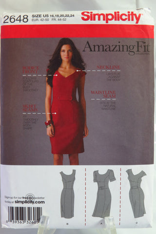 Simplicity 2648 Misses' and Miss Petite Dress with Individual Pattern Pieces for Slim, Average and Curvy Fit and for A,B,C,D Cup Sizes - U5 (16-18-20-22-24) - Smiths Depot Sewing Pattern Superstore