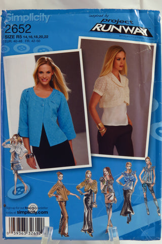 Simplicity 2652 Misses Jacket in Two Lengths with Neckline and Sleeve Variations. - R5 (14-16-18-20-22) - Smiths Depot Sewing Pattern Superstore