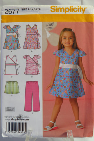 Simplicity 2677 Girl's Dress, Top, Pants or Shorts - A (3-4-5-6-7-8) - Smiths Depot Sewing Pattern Superstore