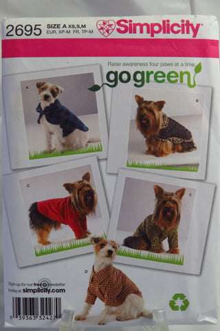 Simplicity 2695 Dog Clothes in Three Sizes -  - Smiths Depot Sewing Pattern Superstore