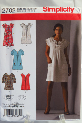 Simplicity 2702 Misses' and Miss Petite Dress in Two lengths or Tunic - H5 (6-8-10-12-14) - Smiths Depot Sewing Pattern Superstore