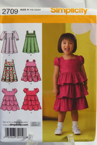 Simplicity 2709 Toddlers Dress with Skirt Vatiations - A (1/2-1-2-3-4) - Smiths Depot Sewing Pattern Superstore