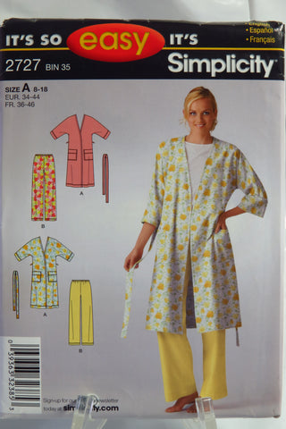 Simplicity 2727 Misses' Robe and Pants - A (8-18) - Smiths Depot Sewing Pattern Superstore