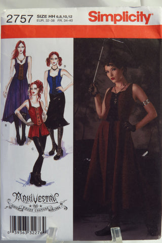 Simplicity 2757 Misses Gothic Costumes - H (6-8-10-12) - Smiths Depot Sewing Pattern Superstore