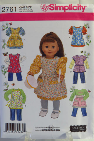 "Simplicity 2761 18"" Fashion Doll Clothes and Aprons -  - Smiths Depot Sewing Pattern Superstore"