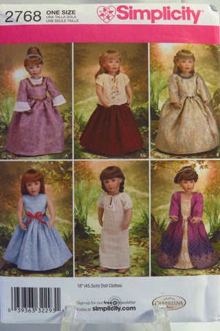 "Simplicity 2768 18"" Fashion Doll Clothes -  - Smiths Depot Sewing Pattern Superstore"