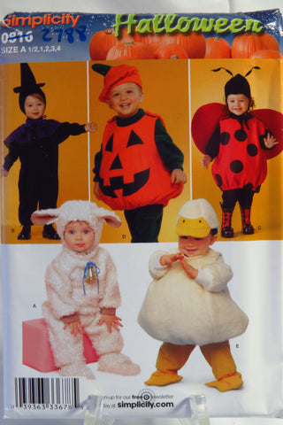 Simplicity 0816 Toddlers' Lamb, Witch, Ladybug, Pumpkin and Duck Costumes - A (1/2-1-2-3-4) - Smiths Depot Sewing Pattern Superstore