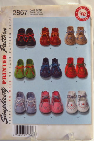 Simplicity 2867 Baby Bootiesshoes Smiths Depot Sewing Pattern