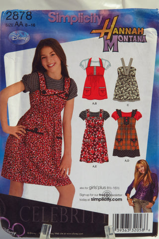 Simplicity 2878 Girls'/Girl's Plus Dress or Jumper, Top and Knit Top - AA (8-10-12-14-16) - Smiths Depot Sewing Pattern Superstore