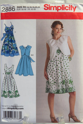Simplicity 2886 Misses Dress with Bodice Variations and Bolero -  - Smiths Depot Sewing Pattern Superstore