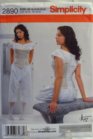 Simplicity 2890 Misses' Drawers, Chemise and Corset - U5 (16-18-20-22-24) - Smiths Depot Sewing Pattern Superstore  - 1