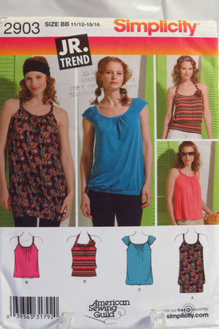 Simplicity 2903 Junior's Knit Mini-Dress or Top - BB (11/12-15/16) - Smiths Depot Sewing Pattern Superstore
