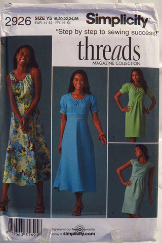 Simplicity 2926 Misses' Dress with Skirt and Sleeve Variations -  - Smiths Depot Sewing Pattern Superstore
