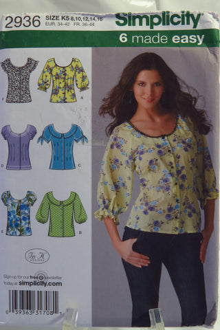 Simplicity 2936 Misses' Blouse with Sleeve Variations - K5 (8-10-12-14-16) - Smiths Depot Sewing Pattern Superstore