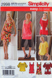 Simplicity 2998 Misses' Knit Mini Dress or Tops - R5 (14-16-18-20-22) - Smiths Depot Sewing Pattern Superstore  - 1
