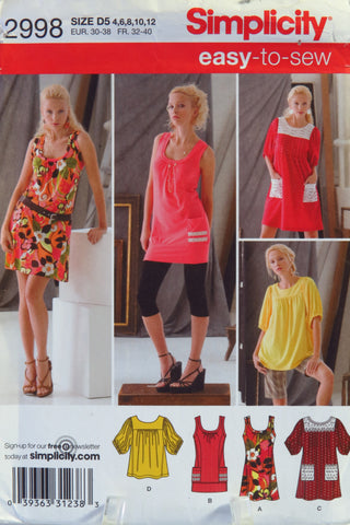 Simplicity 2998 Misses' Knit Mini Dress or Tops - D5 (4-6-8-10-12) - Smiths Depot Sewing Pattern Superstore  - 2