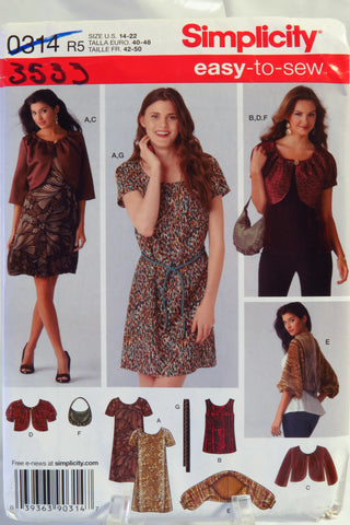Simplicity 0314 Misses' Dress or Top, Jacket in Two Lengths, Shrug, Belt and Bag. - R5 (14-16-18-20-22) - Smiths Depot Sewing Pattern Superstore