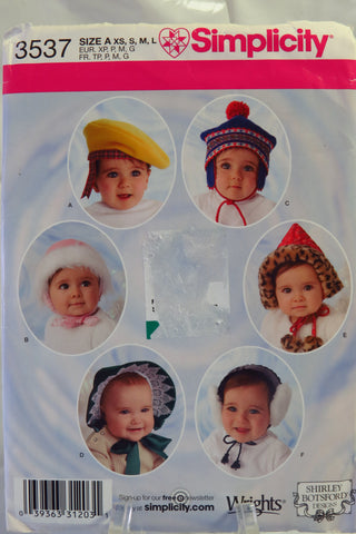 Simplicity 3537 Babies and Toddlers' Hats in Four Sizes - A (XS-S-M-L) - Smiths Depot Sewing Pattern Superstore