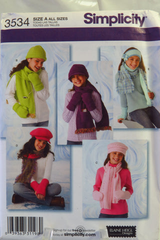 Simplicity 3534 Girls' Hats and Mittens in Three Sizes and Scarves - A (ALL SIZES) - Smiths Depot Sewing Pattern Superstore